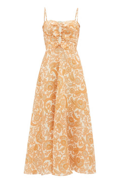 ZIMMERMANN  Peggy paisley-print tie-front linen dress