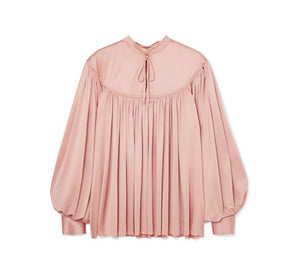Co - Gathered Stretch-sateen Blouse - Pastel pink