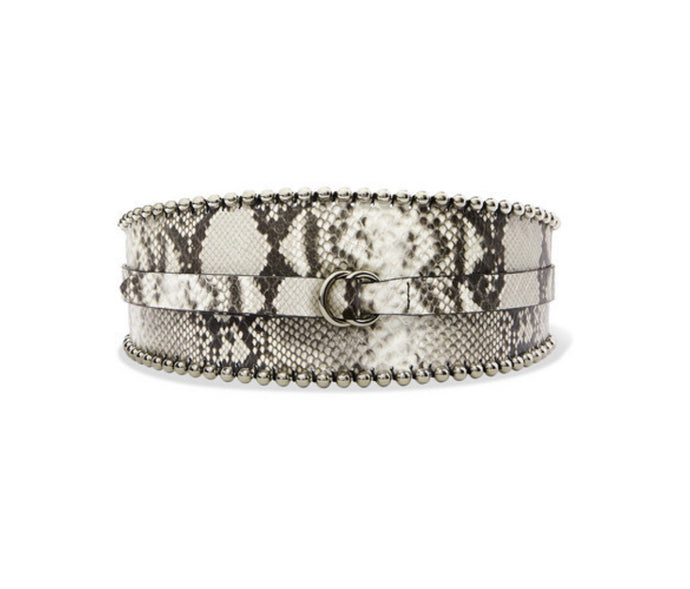 Isabel Marant - Kytoo Embellished Snake-effect Leather Waist Belt - Gray