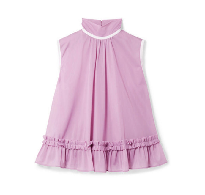 Miu Miu - Ruffled Satin-jersey Turtleneck Top - Lilac