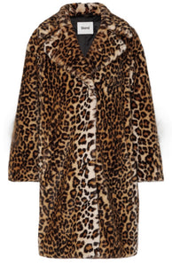 Stand leopard faux fur coat