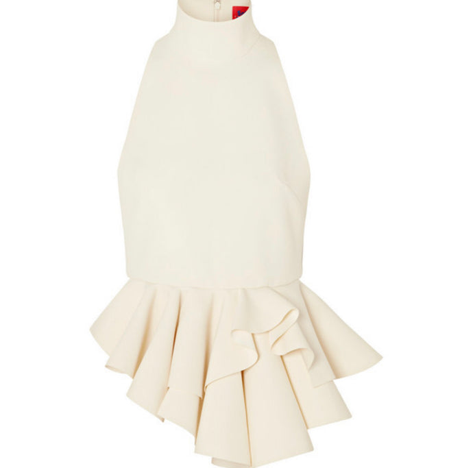 Solace London - Ruffled Crepe Top - Cream