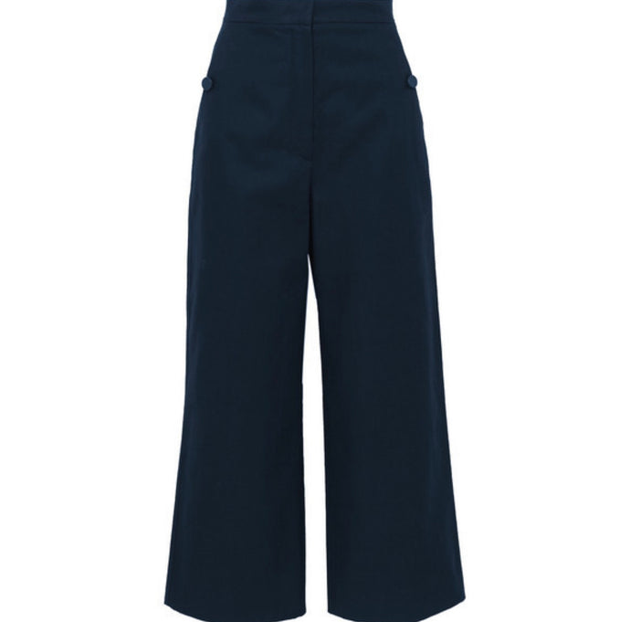 Max Mara - Cotton And Linen-blend Canvas Wide-leg Pants - Navy