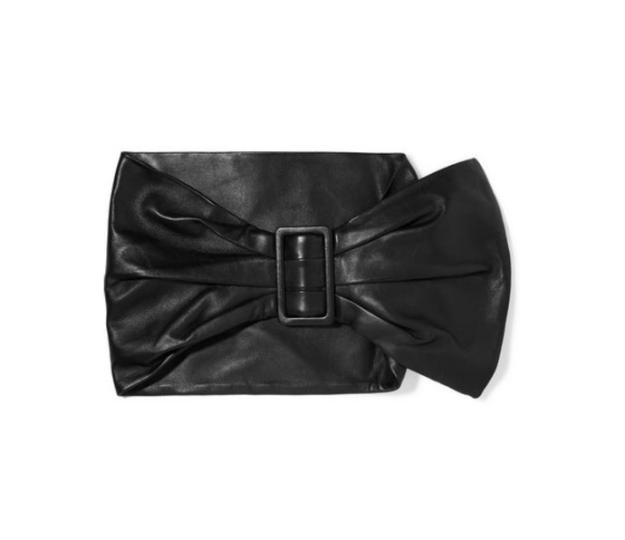 Dundas - Ruched Leather Waist Belt - Black