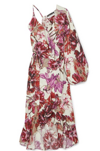 ROTATE BIRGER CHRISTENSEN ASYMMETRIC RUFFLED FLORAL-PRINT CREPE WRAP DRESS