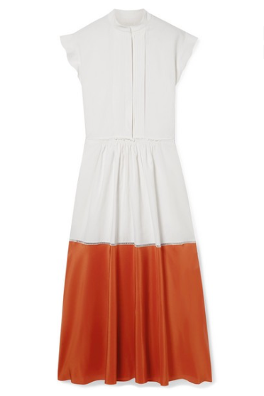 CHLOE TWO-TONE PLEATED LINEN AND SILK CREPE DE CHINE MIDI DRESS
