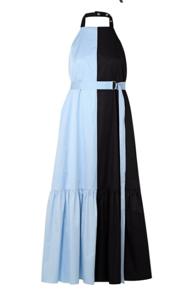 TIBI TWO-TONE COATED COTTON-POPLIN HALTERNECK MIDI DRESS
