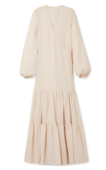 MATIN Tiered cotton and linen-blend voile wrap maxi dress