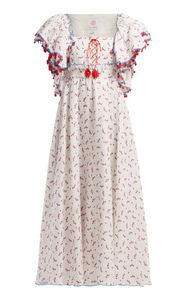 GÜL HÜRGEL  Floral and grid-print linen midi dress