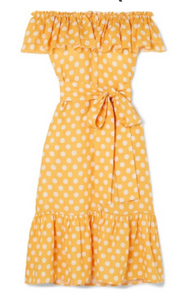 LISA MARIE FERNANDEZ Mira off-the-shoulder polka-dot linen midi dress