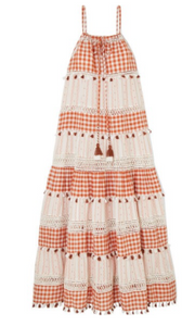 DODO BAR OR Tasseled cotton-jacquard and poplin maxi dress
