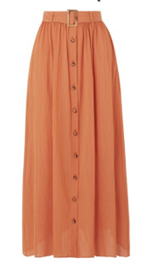 LISA MARIE FERNANDEZ Belted cotton-gauze maxi skirt