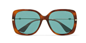 GUCCI Oversized square-frame tortoiseshell acetate and gold-tone sunglasses