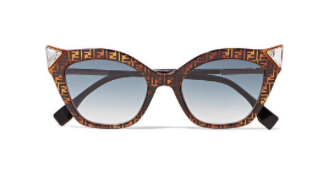FENDI Crystal-embellished cat-eye printed tortoiseshell acetate sunglasses