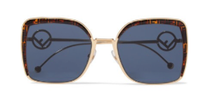 FENDI Oversized square-frame gold-tone and printed tortoiseshell acetate sunglasses
