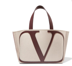 VALENTINO Valentino Garavani VLOGO Escape small leather-trimmed canvas tote