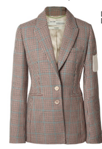 OFF-WHITE Appliquéd checked wool blazer