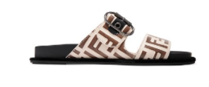 FENDI Logo-print leather and rubber slides