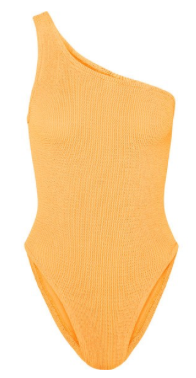 HUNZA G Nancy one-shoulder seersucker swimsuit