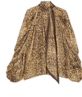 ZIMMERMANN Espionage pussy-bow leopard-print silk blouse