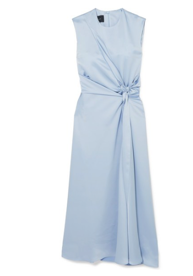 CÉDRIC CHARLIER Knotted zip-detailed satin midi dress