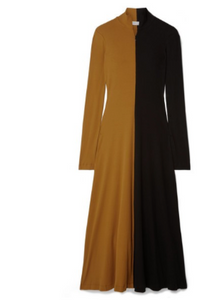 ROSETTA GETTY Two-tone cotton-jersey turtleneck midi dress