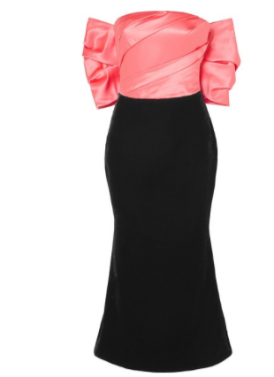 RASARIO Bow-embellished satin and velvet midi dress