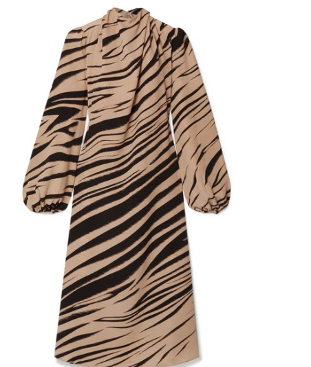 BEAUFILLE Bardot zebra-print twill midi dress