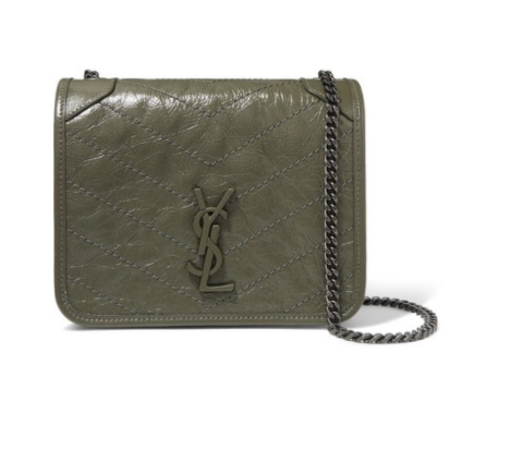 SAINT LAURENT Niki mini quilted crinkled-leather shoulder bag