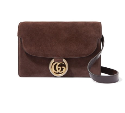 GUCCI GG Ring small leather-trimmed suede shoulder bag