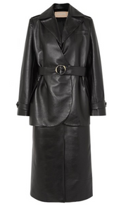 MATÉRIEL Belted layered faux leather trench coat