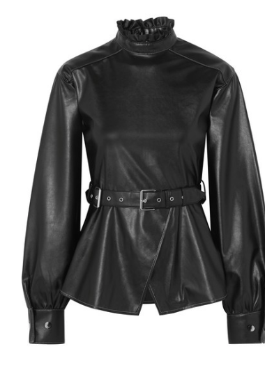 ANDERSSON BELL Belted ruffled vegan leather top