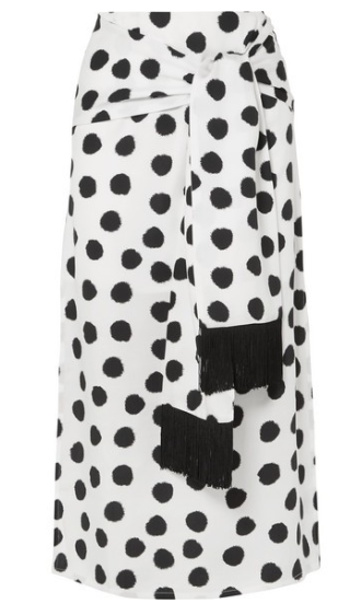 MOTHER OF PEARL + NET SUSTAIN Kate fringed tie-front polka-dot Lyocell midi skirt