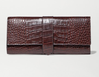 SMYTHSON Mara croc-effect leather jewelry roll