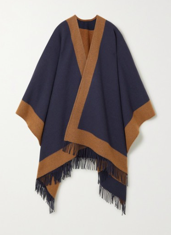 JOHNSTONS OF ELGIN Fringed two-tone wool cape
