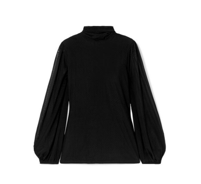 GANNI - Addison Swiss-dot Stretch-tulle Turtleneck Top - Black