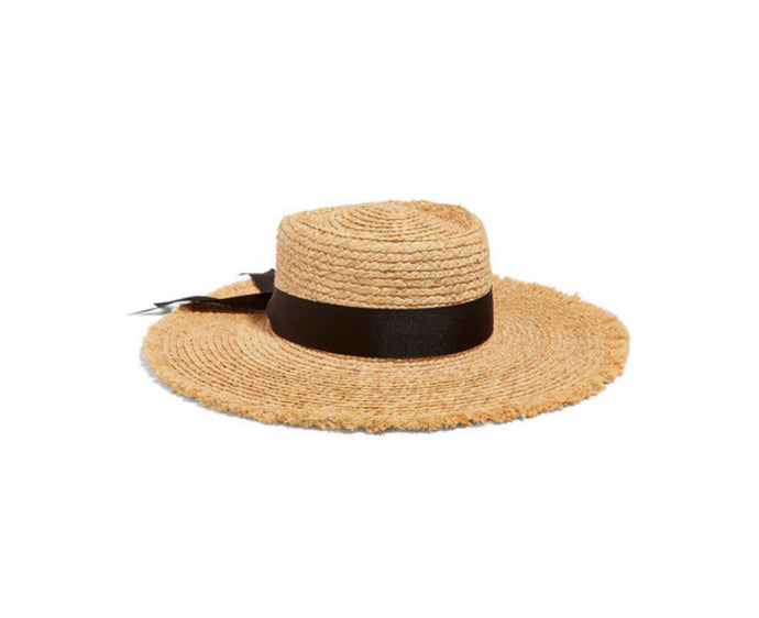 Lack of Color - The Ventura Frayed Grosgrain Trimmed Straw Hat - Black