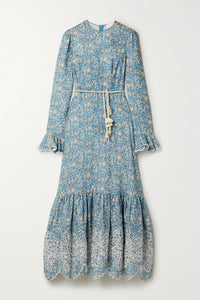ZIMMERMANN Carnaby belted broderie anglaise-trimmed floral-print linen midi dress