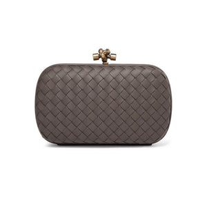 Bottega Veneta - Chain Knot Intrecciato Leather Clutch - Gray