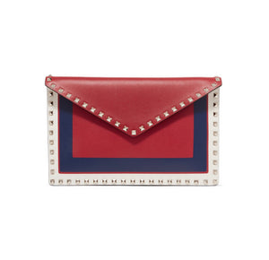 Valentino - Valentino Garavani The Rockstud Large Color-block Leather Pouch - Red