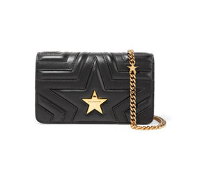 Stella McCartney - Star Quilted Faux Leather Shoulder Bag - Black