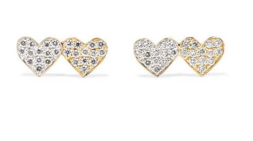 Sydney Evan - Double Hearts 14-karat Gold Diamond Earrings - one size