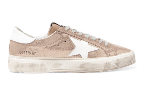Golden Goose Deluxe Brand - May Distressed Metallic Suede And Leather Sneakers - IT35