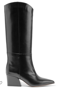 Tibi - Logan Glossed-leather Knee Boots - Black