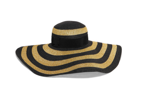 Etro GROSGRAIN-TRIMMED STRIPED PAPER-BLEND SUNHAT