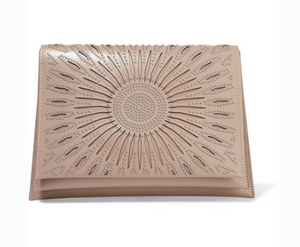 Alaia STUDDED LASER-CUT LEATHER CLUTCH