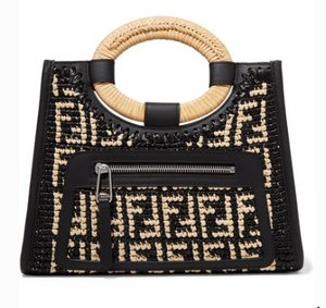 Fendi RUNAWAY SMALL LEATHER-TRIMMED WOVEN RAFFIA TOTE