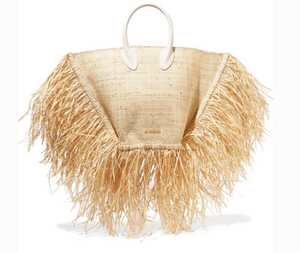 Jacquemus LE BACI LEATHER-TRIMMED FRINGED RAFFIA TOTE