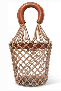 Staud MOREAU LEATHER, PVC AND MACRAMÉ BUCKET BAG
