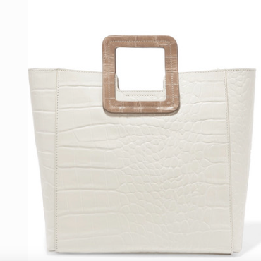 Staud SHIRLEY TWO-TONE CROC-EFFECT LEATHER TOTE